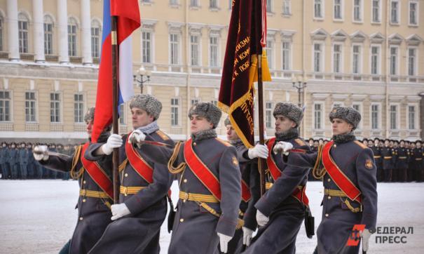 На Дворцовой площади Санкт-Петербурга прошел военный парад