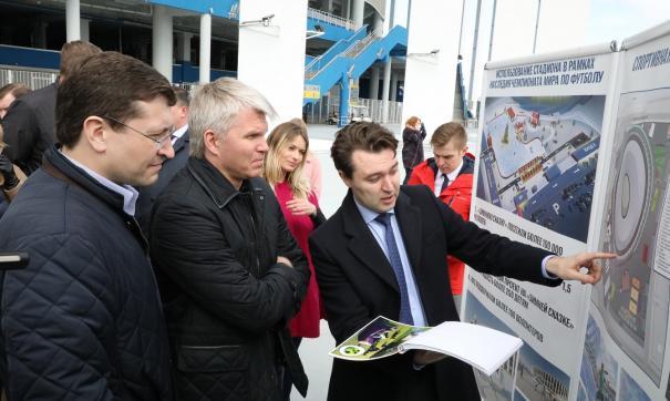 Министру спорта РФ Павлу Колобкову рассказали, как будут использовать территорию нижегородского стадиона