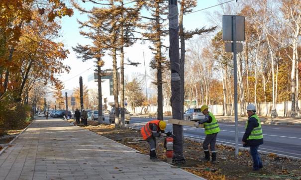 В Южно-Сахалинске ставят новые фонари