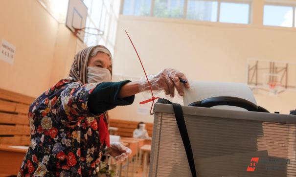 Пенсионерка голосует
