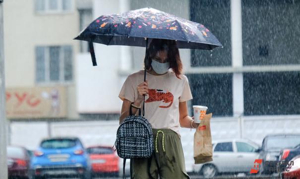 Девушка идет под зонтиком