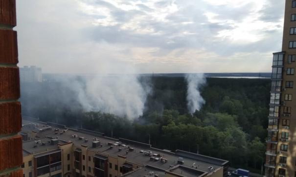 В Челябинске горит городской бор