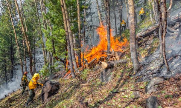 Тушение пожара осложняется сухой и жаркой погодой