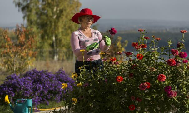 женщина на огороде