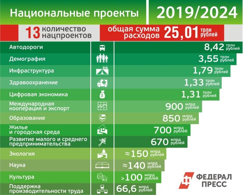 Для реализации нового «майского указа» Владимира Путина руководство запустит 13 нацпроектов