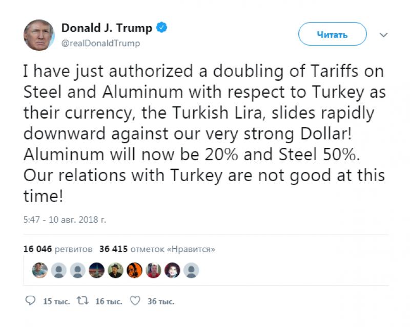 Трамп поднял пошлины насталь иалюминий изТурции