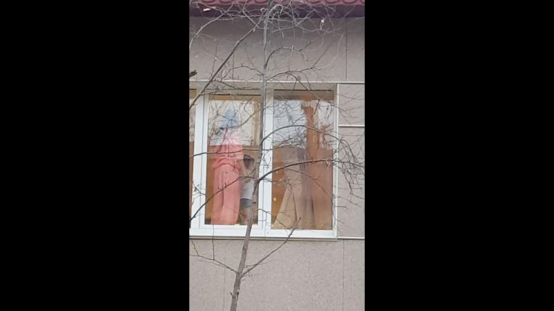 Ребенок зовет на помощь в окно