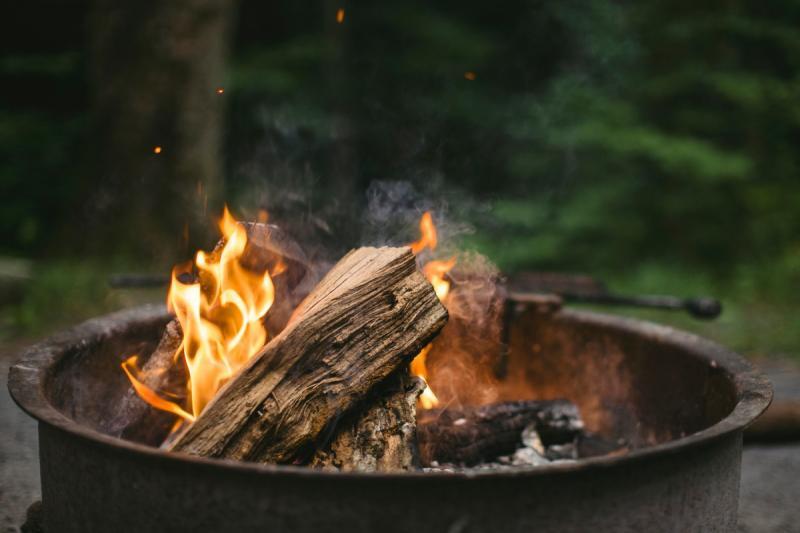 Дачники сжигают осенью сухую траву и сухостой