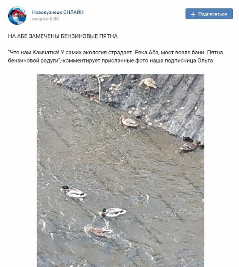 Нефтянные пятна в реке